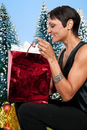 A beautiful woman holding a Christmas present photo
