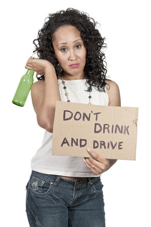 Beautiful Woman Holding a Dont Drink and Drive Sign photo
