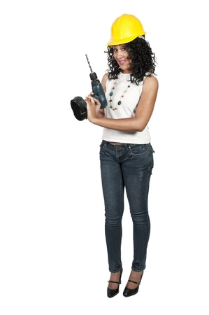 Black woman African American constuction worker holding a cordless drill Stock Photo - 10857898