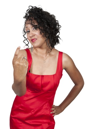 A beautiful woman signaling with her finger for someone to come here photo