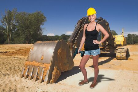 A Female Construction Worker on a job site Stock Photo - 11171787