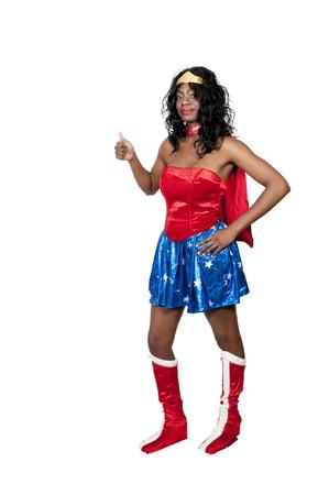 할로윈 의상을 입고 아프리카 계 미국인 여자