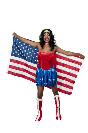An African American woman dressed in a Halloween costume photo
