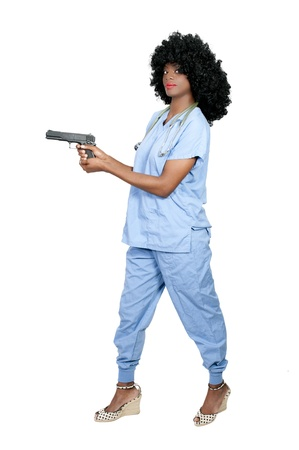 narc: A beautiful black African American police detective woman on the job with a gun
