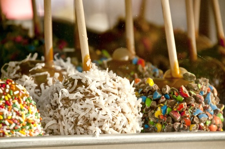 A selection of candy apples at a fair or carnival