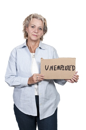 A beautiful young woman holding up an unemployment sign photo