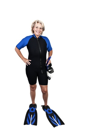wet suit: An older woman in scuba wet suit with a mask and snorkle