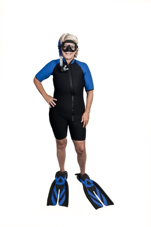snorkle: An older woman in scuba wet suit with a mask and snorkle