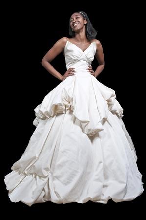 웨딩 드레스에 블랙 아프리카 계 미국인 여성 신부