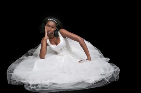 Black African American Woman Bride in a wedding dress