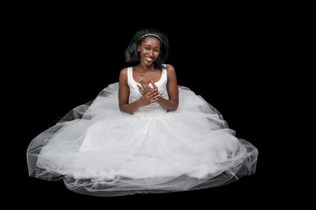 Black African Americal Woman Bride in a wedding dress 스톡 콘텐츠