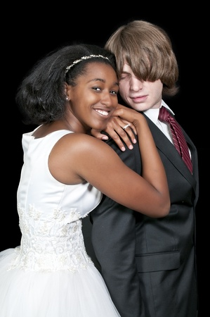 Caucasian man and a black African American woman newly married newlyweds photo