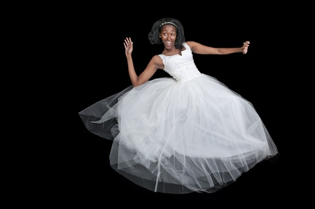 americal: Black African Americal Woman Bride in a wedding dress Stock Photo