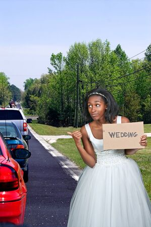 americal: Black African Americal Woman Bride in a wedding dress hitching a ride to the ceremony