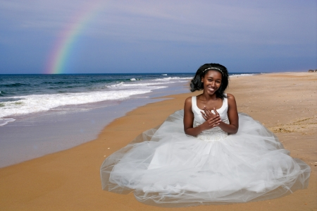 Black African Americal Woman Bride in a wedding dress photo