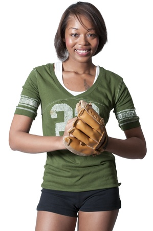 Black African American woman playing baseball at a community park Stock Photo - 12102042