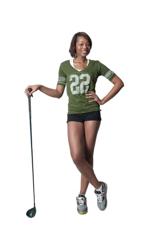 A very beautiful and young black African American woman golfer photo