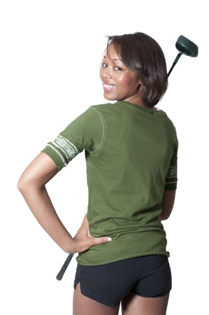 blonde minority: A very beautiful and young black African American woman golfer
