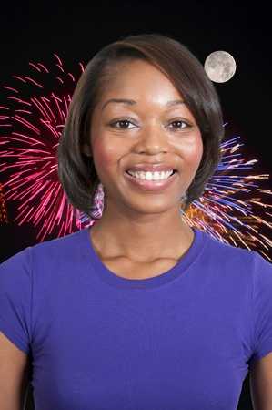 A very beautiful African American black woman with a big smile Stock Photo - 12101425