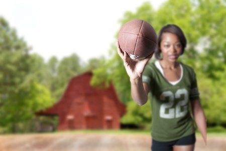 An American football ready for sports action. photo