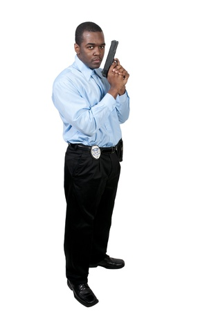 A black African American police detective man on the job with a gun Stock Photo - 12100885