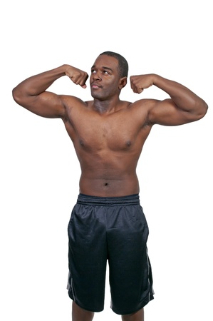 pectoral muscle: Young African American black man with his shirt removed Stock Photo