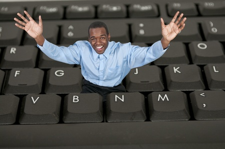 A black African American man computer user Stock Photo - 12102133