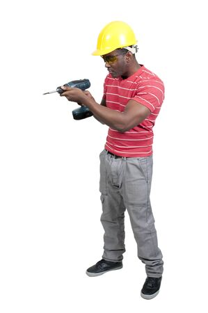 site: A black African American man Construction Worker on a job site