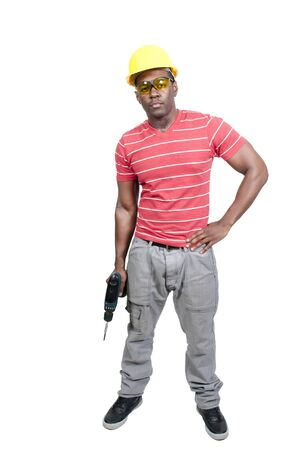 A black African American man Construction Worker on a job site Stock Photo - 12314484