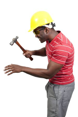 A black African American man Construction Worker on a job site Stock Photo - 12321159