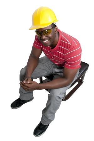 job site: A man Construction Worker on a job site.