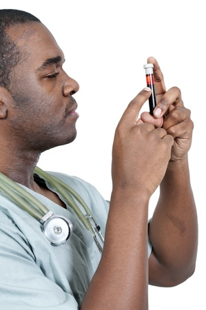 A black man African American doctor holding a test tube vial sample of blood Stock Photo - 12322220