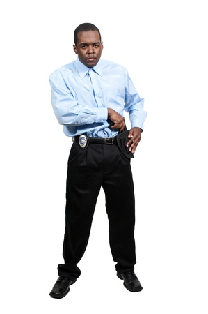 A black African American police detective man on the job with a gun Stock Photo - 12314109