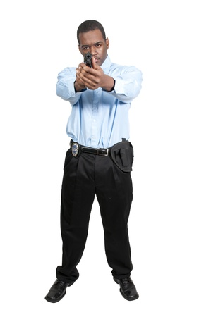 A black African American police detective man on the job with a gun Stock Photo - 12314124