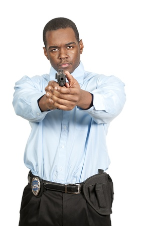 weapons: A black African American police detective man on the job with a gun