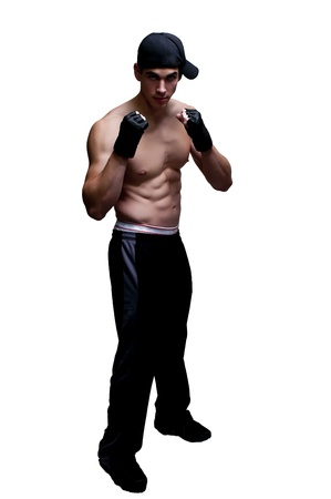 Attractive man athletic boxer in a fighting stance