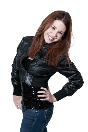 A young Beautiful Woman with a lovely smile in a black leather jacket photo