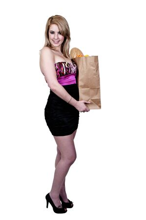 blonde minority: A beautiful young woman on a shopping spree