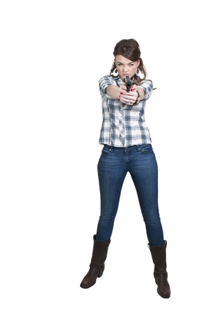 A beautiful police detective woman on the job with a gun Stock Photo - 12314296