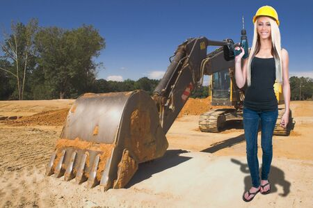 safety: A Female Construction Worker on a job site. Stock Photo