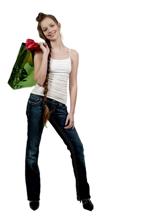 teenaged: A beautiful young woman on a shopping spree