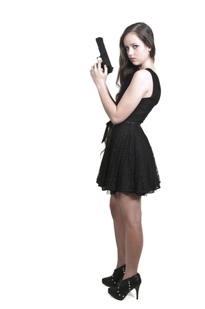hot chick: A beautiful police detective woman on the job with a gun