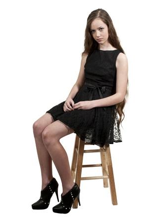 Een mooie jonge tiener vrouw ver weg Stockfoto
