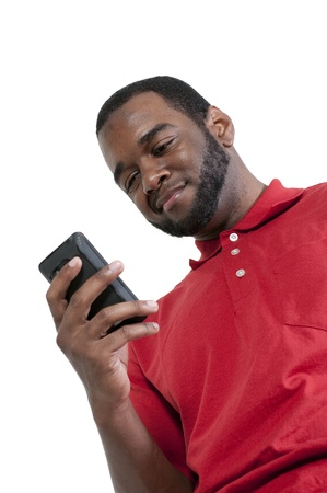 phone: Black African American man using a cell phone for texting