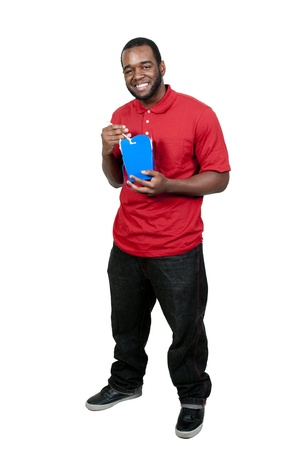 Black African American man eating Chinese or Japanese Asian food Stock Photo - 13544860