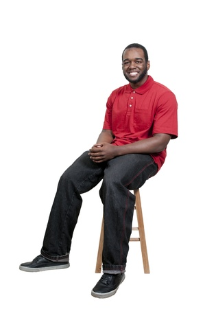 stool: An attractive handsome African American black man