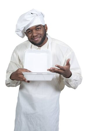 american cuisine: Black African American male chef holding a takeout box