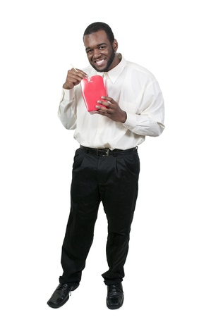 Black African American man eating Chinese or Japanese Asian food Stock Photo - 13544700