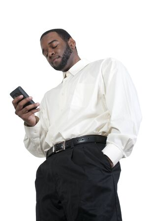 Black African American business man using a cell phone for texting Stock Photo - 13544849