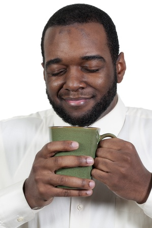 Young black African American man drinking coffee photo